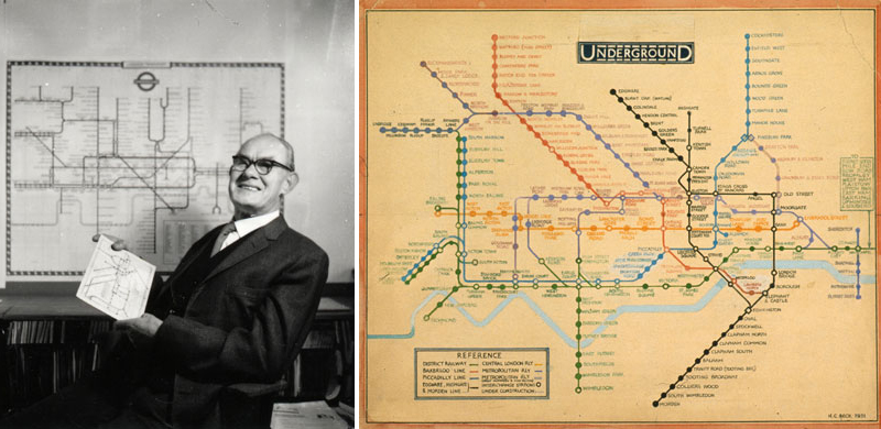 Гарри Бек в 1965 годус оригинальным рисунком схемы лондонского метро в руках и тот самый рисунок 1931 года крупно.
